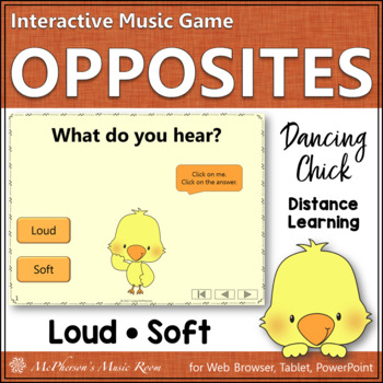 Music Opposite Loud or Soft Interactive Music Game {Dancing Chick}