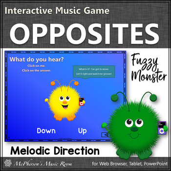 Music Opposite Up Down Interactive Music Game {Fuzzy Monsters}
