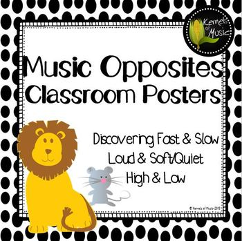 Music Opposites Classroom Posters-Black & White