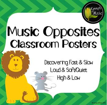 Music Opposites Classroom Posters-Chevron
