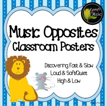 Music Opposites Classroom Posters-Pastel