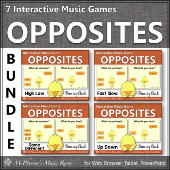 Spring Music Games: Music Opposites Interactive Music Games {Dancing Chick}