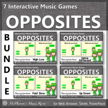 Music Opposites & Comparatives: Interactive Music Games {Dancing Leprechaun}