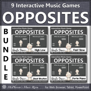 Fall Music Games ~ Music Opposites Interactive Music Games Bundle {Ghostie}