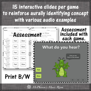 Music Opposites: Interactive Music Games + Assessments - Set Two (dragons)