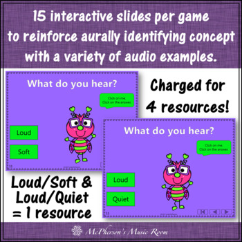 Music Opposites Interactive Music Games and Assessments {Love Bug}