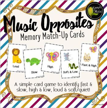 Music Opposites Memory Match-Up Cards