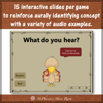 Thanksgiving Music: Interactive Music Games {Opposites} Turkey Dance Bundle
