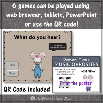 Music Opposites and Comparatives Interactive Music Games {Dancing Mouse}