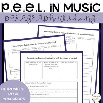 MUSIC : P.E.E.L. Paragraph Writing Templates for Middle School Students