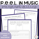 P.E.E.L. Paragraph Writing Templates and Worksheets for Music