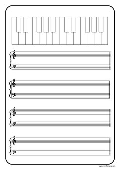Music Paper with Blank Keyboard - Treble, Bass and Grand Staff/Stave