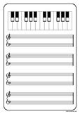 Music Paper with Blank Keyboard - Treble, Bass and Grand S