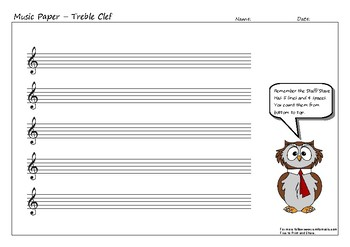 Music Paper with Treble Clef