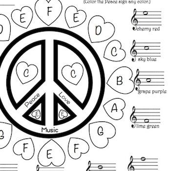 Music - Peace, Love, Music Treble Clef Color Sheet   TpT