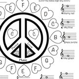 Music - Peace, Love, Music Treble Clef Color Sheet