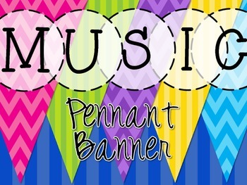Music Pennant Banner - Chevron and Stripes - Brights