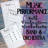 Music Performance Self Evaluation Worksheets, Band & Orchestra