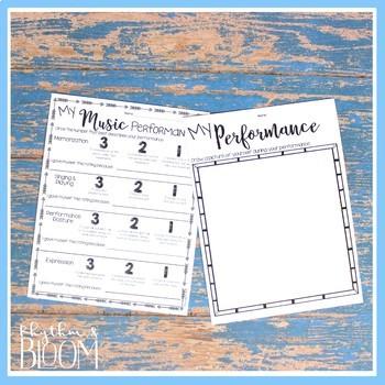 Music Performance Self Evaluation Worksheets, K-3