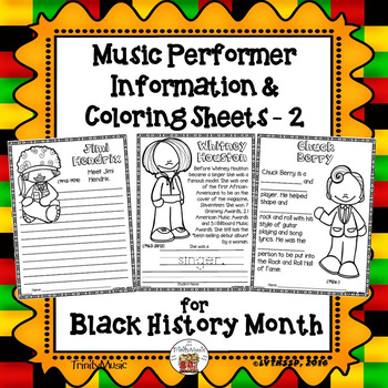 Music Performer Information & Coloring Worksheets - 2 (for Black History Month)