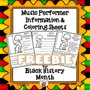 Music Performer Information & Coloring Worksheets FREEBIE