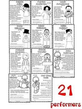 Music Performer Information & Coloring Worksheets for Black History Month