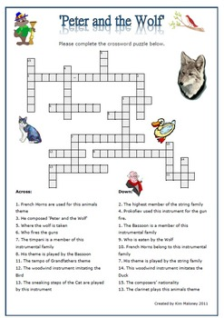 'Peter and the Wolf' Listening Worksheets