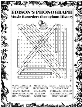Edison's Phonograph Music Recorders throughout History Wordsearch Puzzle