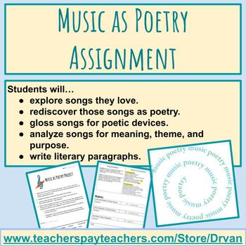 Music As Poetry Project: Copy Down, Reflect, Analyze, Write