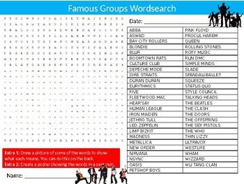 Music Pop Groups Wordsearch Puzzle Sheet Keywords Homework Popular Musicians