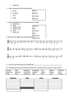 Music Post-Test Baseline Assessment--American