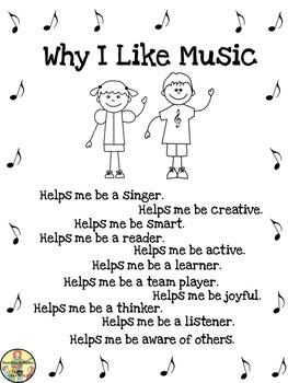 "Freebie: Music Posters ""Why I Like Music"" Inspirational Classroom Decor"