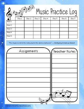 Music Practice Assignment Sheets