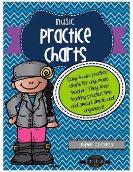 Music Practice Charts-Chevron Theme