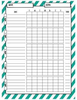 Music Practice Charts-Diagonal Stripes Theme