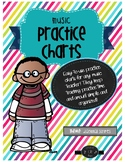 Music Practice Charts-Diagonal Stripes Theme