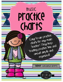 Music Practice Charts-Horizontal Stripes Theme