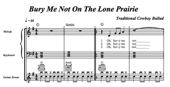 "Music Practice Tool: 1 Song w/ Practice Aids (""Bury Me Not On The Lone Prairie"")"