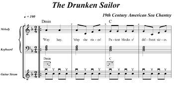 "Music Practice Tool: Sheet Music + 6 Recordings (""Drunken Sailor"")"