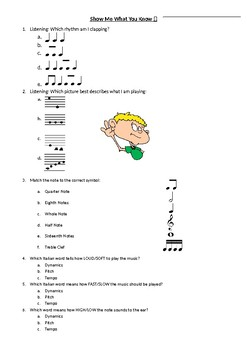 Music Pre-Test Baseline Assessment--American