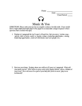 Music Preference Part 1 Worksheet