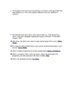 Music Preference Part 2 Worksheet