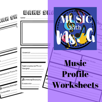 Music Profile Worksheets