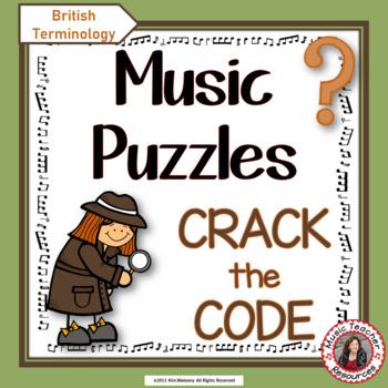 Music Puzzles: Crack the Music Code (British Terminology)