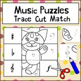 Music Puzzles Trace Cut Match