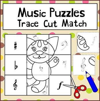 Music Puzzles Trace Cut Match
