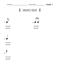 Music Quiz for 1st, 2nd, 3rd, 4th, 5th grades Notes