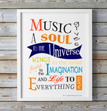 Music Quote - Music Gives A Soul To the Universe (Plato)