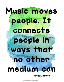 Music Quote Posters {Kid-Friendly Font: Watercolor Music Decor}