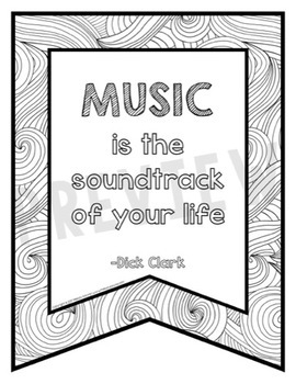 Music Quotes Coloring Banners {25 Full-Page Banners}